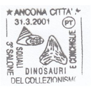 Fossils on postmark of Italy 2001