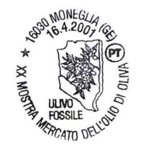 Fossil of olive on postmark of Italy 2001