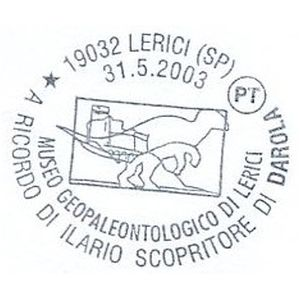 Dinosaur on postmark of Italy 2003