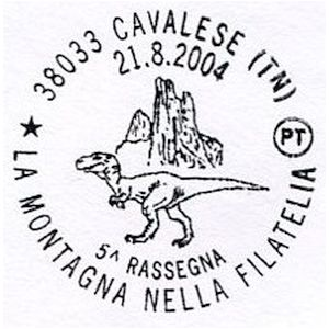 Dinosaur on postmark of Italy 2004