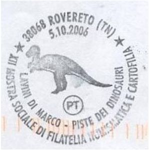 Dinosaur on postmark of Italy 2006