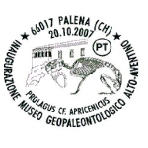 Fossil of Prolagus apricenicus on postmark of Italy 2007