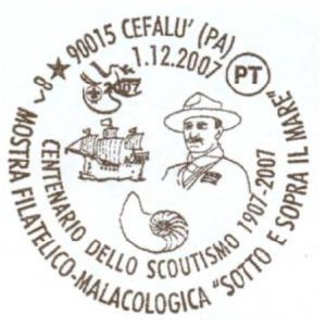 Fossils on postmark of Italy 2007