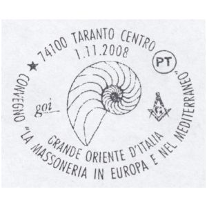 Fossils on postmark of Italy 2008