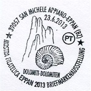 Ammonite on postmark of Italy 2013