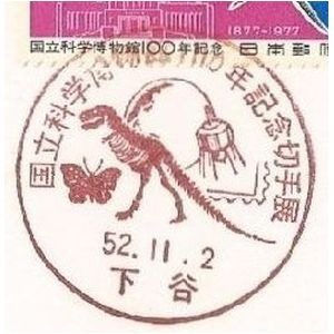 Skeleton of Dinosaur on postmark of National Science Museum of Japan 1977