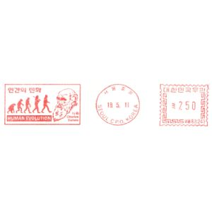 Human Evolution and Charles Darwin on meter franking of South Korea 2011