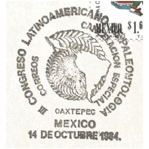III Congress of Paleontology in Latin America on commemorative postmark of Mexico 1984