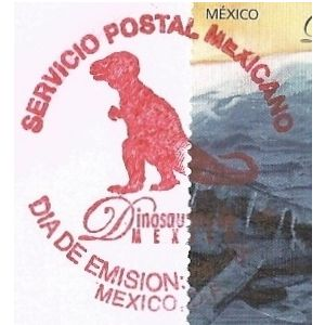 Dinosaur on commemorative postmark of Mexico 2006