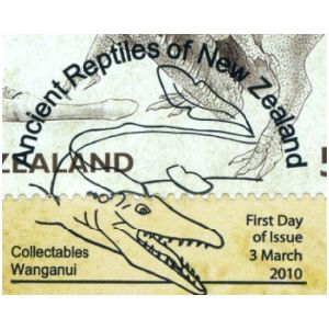 Dinosaur on meter franking of New Zealand 1990