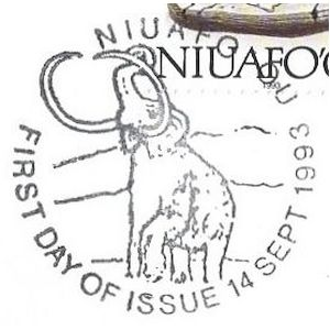 Mammoth on commemorative postmark of Niuafoou 1993