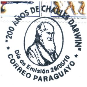 Charles Darwin on stamps of Paraguay 2010