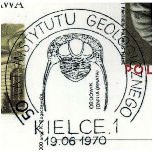 Trilobite on commemorative postmark of Poland 1970