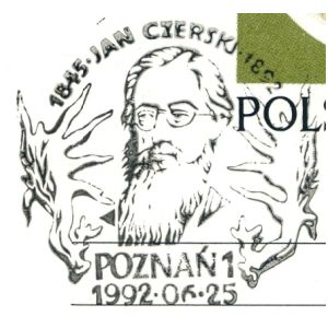 Famopus Polish paleontologist Jan Czerskj on commemorative postmark of Poland 1992