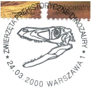Dinosaur skull on commemorative postmark of Poland 2000