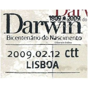 Charles Darwin on commemorative postmark of Portugal 2009