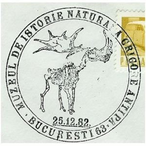 Giant deer on commemorative postmarks of Romania 1982