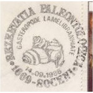 MOLLUSCS fossils from paleontological reserve Soceni on commemorative postmarks of Romania 1986