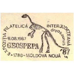 Skeleton of Dryosaurus dinosaur on commemorative postmarks of Romania 1987