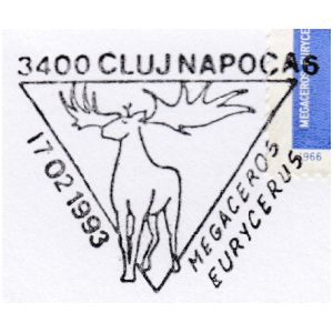 Megaceros Eurycerus on commemorative postmarks of Romania 1993