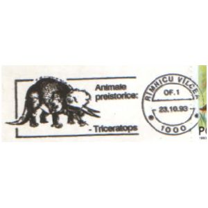 Triceratops on commemorative postmarks of Romania 1993 on commemorative postmarks of Romania 1979