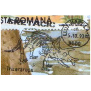 Triceratops dinosaur on commemorative postmarks of Romania 1993