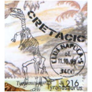 Tyrannosaurus dinosaur on commemorative postmarks of Romania 1993