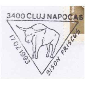 Bison Priscus on commemorative postmarks of Romania 1993