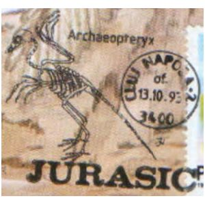 Archaeopteryx on commemorative postmarks of Romania 1993