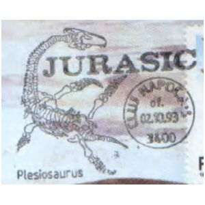Plesiosaurus on commemorative postmarks of Romania 1993