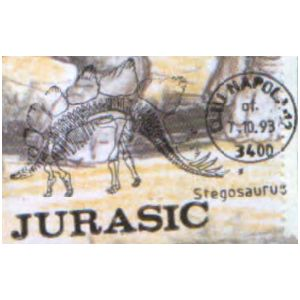 Stegosaurus dinosaur on commemorative postmarks of Romania 1993