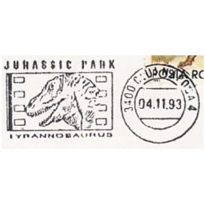 Tyrannosaurus on commemorative postmarks of Romania 1993