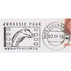 Brontosaurus on commemorative postmarks of Romania 1993