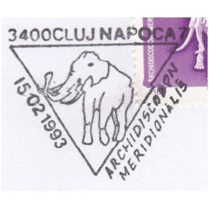 Mammuthus meridionalis on commemorative postmarks of Romania 1993