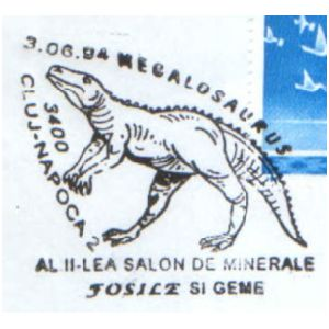 Megalosaurus dinosaur on commemorative postmarks of Romania 1994