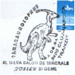 Parasaurolophus dinosaur on commemorative postmarks of Romania 1994