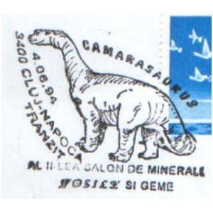 Camarasaurus dinosaur on commemorative postmarks of Romania 1994