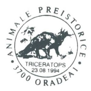 Triceratops dinosaur on commemorative postmarks of Romania 1994