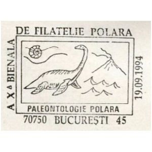 Plesiosaurus and ammonite on commemorative postmarks of Romania 1994