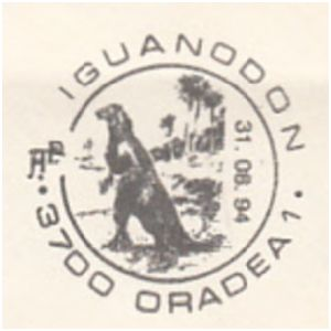 Iguanodon on commemorative postmarks of Romania 1994