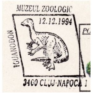 Iguanodon dinosaur on commemorative postmarks of Romania 1994