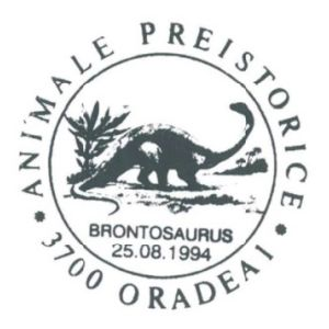 Brontosaurus dinosaur on commemorative postmarks of Romania 1994
