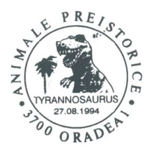 Tyrannosaurus dinosaur on commemorative postmarks of Romania 1994
