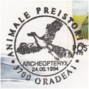 Archaeopteryx on commemorative postmarks of Romania 1994