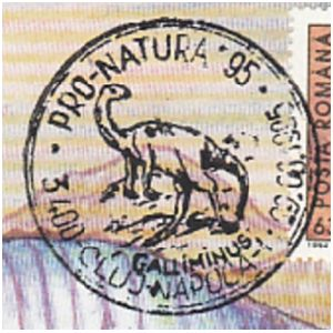 Galliminus dinosaur on commemorative postmarks of Romania 1995