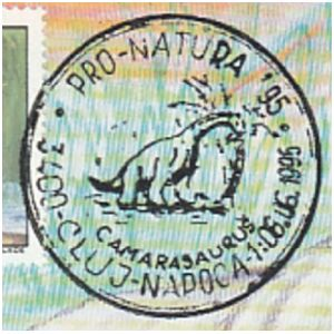 Camarasaurus dinosaur on commemorative postmarks of Romania 1995