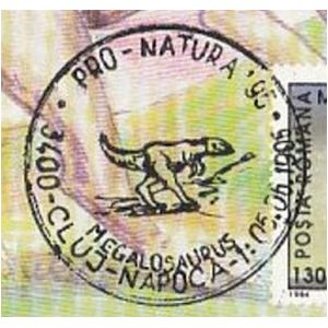 Megalosaurus dinosaur on commemorative postmarks of Romania 1995