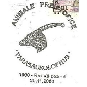 Parasaurolophus dinosaurs on commemorative postmarks of Romania 2000