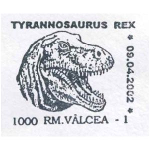 Tyrannosaurus Rex on commemorative postmarks of Romania 2002