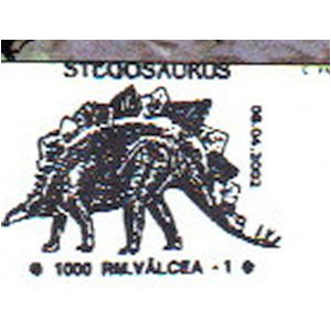 Stegosaurus dinosaurs on commemorative postmarks of Romania 2002